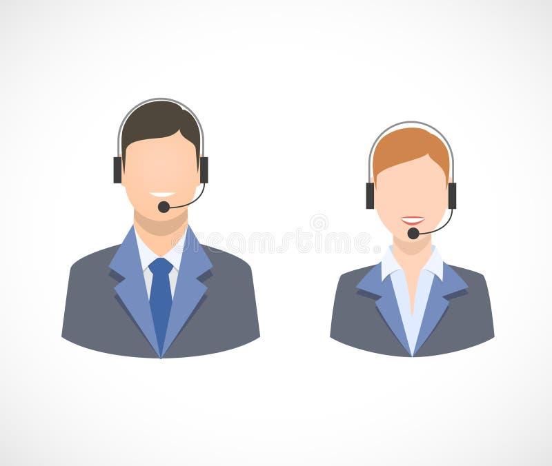 Centrum telefonicznego poparcia kadrowego personelu ikony royalty ilustracja