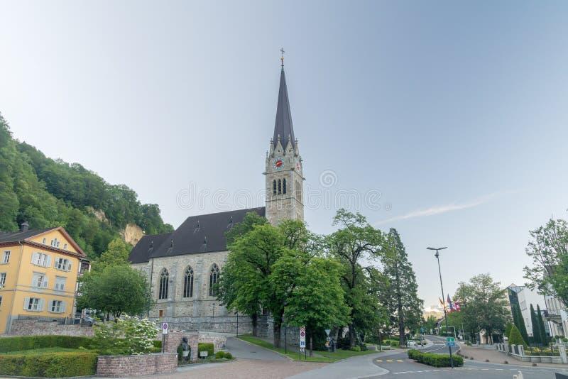 Centrum Vaduz, patrzeje katedra obrazy royalty free