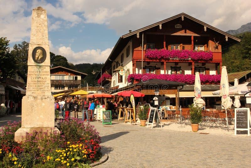 Centrum van het dorp. Konigssee. Duitsland stock fotografie