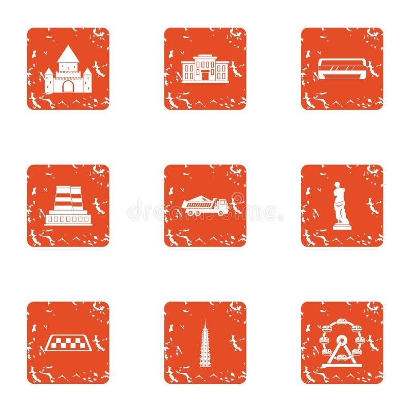 Centrum van hoofd geplaatste pictogrammen, grunge stijl royalty-vrije illustratie