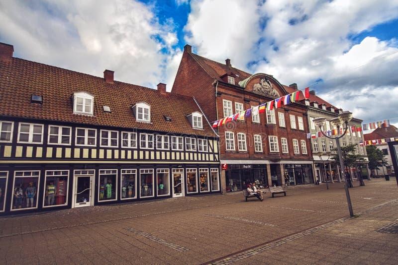 Centrum van Horsens, Denemarken stock afbeeldingen