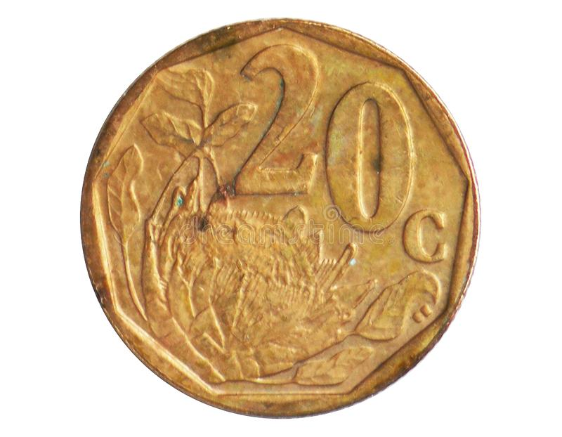 20 Cents Aferika Borwa - Tswana language coin, 1994~Today - Second Republic - Circulation serie, Bank of South Africa. Obverse, issued on 2002. Isolated on royalty free stock image