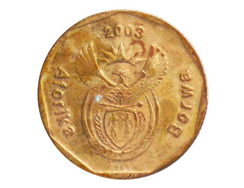 20 Cents Aferika Borwa - Tswana language coin, 1994~Today - Second Republic - Circulation serie, Bank of South Africa. Reverse, issued on 2002. Isolated on royalty free stock images