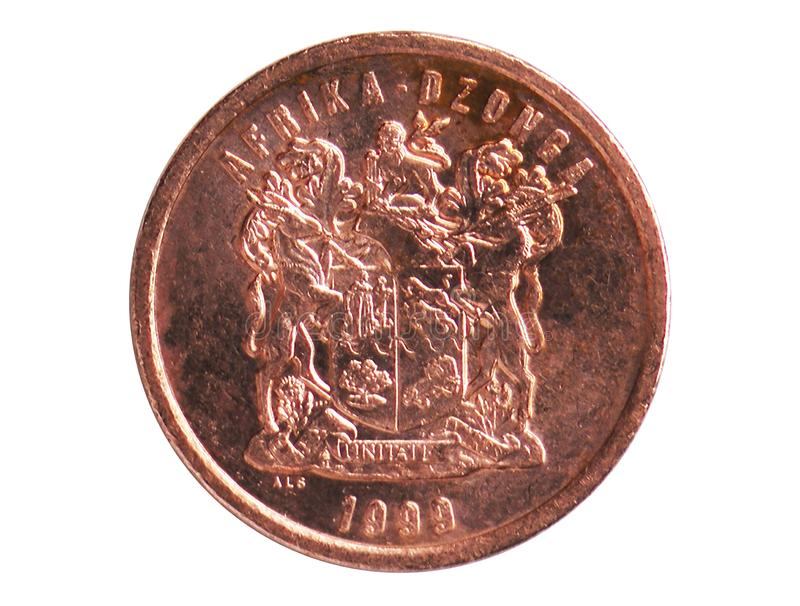 5 Cents AFRIKA-DZONGA - Tsonga legend coin, 1994~Today - Second Republic - Circulation serie, Bank of South Africa. Reverse, issued on 1996. Isolated on white royalty free stock photo