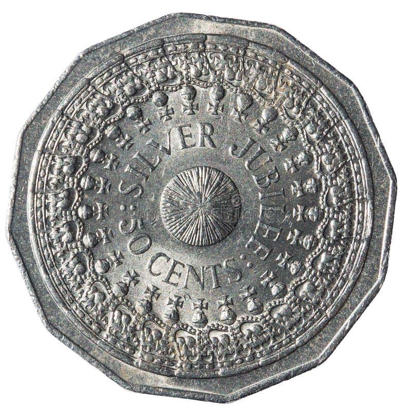 50 Cents australische Münzen, die den 25. Jahrestag des Zuganges der Königin Elizabeth II gedenken lizenzfreie stockbilder