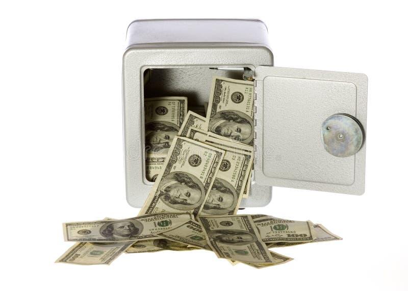Cents billets d'un dollar dans le coffre-fort ouvert photos stock