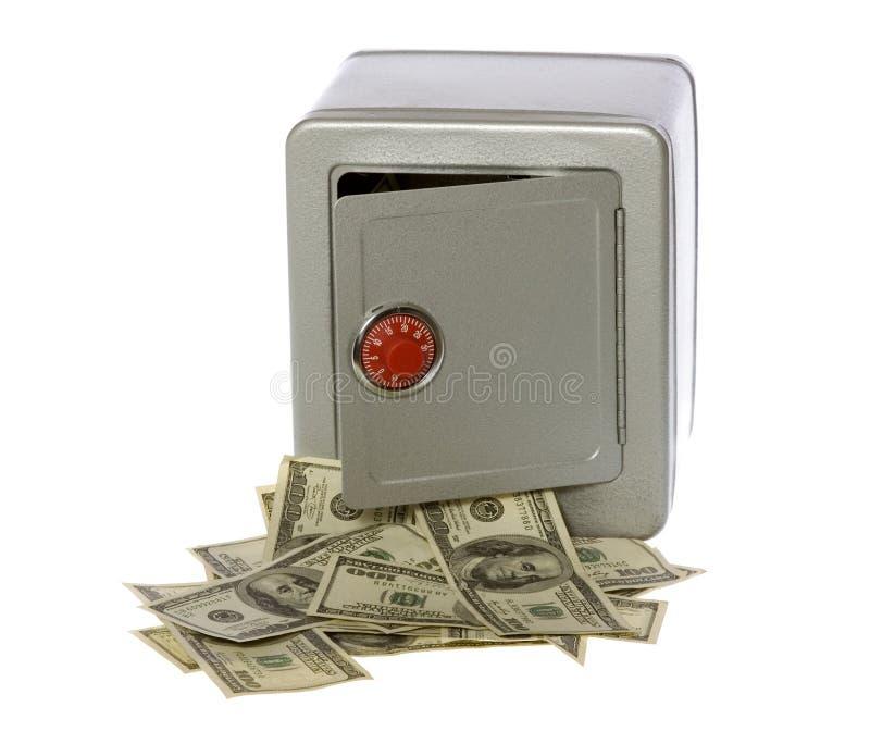 Cents billets d'un dollar dans le coffre-fort ouvert image libre de droits
