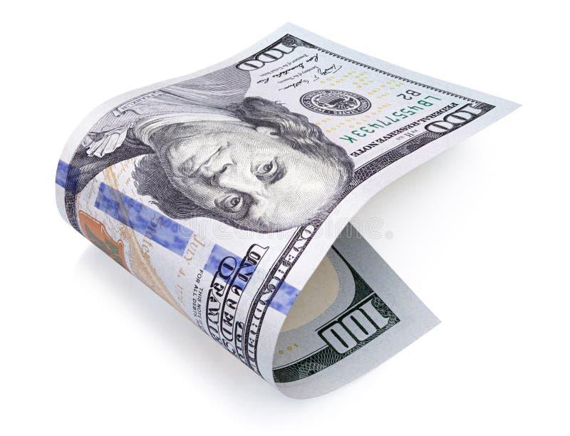 Cents billets d'un dollar sur le blanc images stock