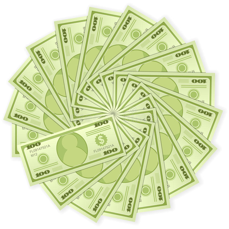 Cents billets de banque du dollar illustration stock