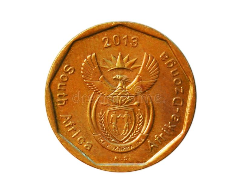 50 Cents coin, Afrika-Dzonga, Bank of South Africa. Obverse, 2013. 50 Cents coin, Afrika-Dzonga on white background, Bank of South Africa. Obverse, 2013 royalty free stock images