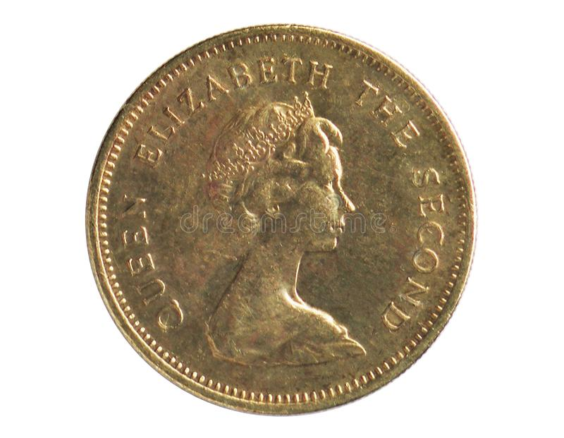 50 Cents coin, 1953~1992 - Elizabeth II serie, Bank of Hong Kong. Reverse, issued on 1977. Isolated on white stock photo