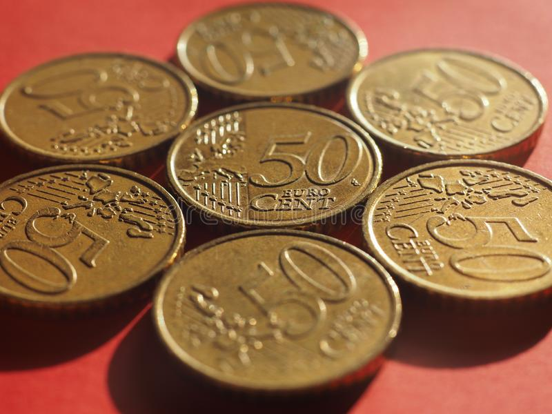 50 cents coin, European Union stock images