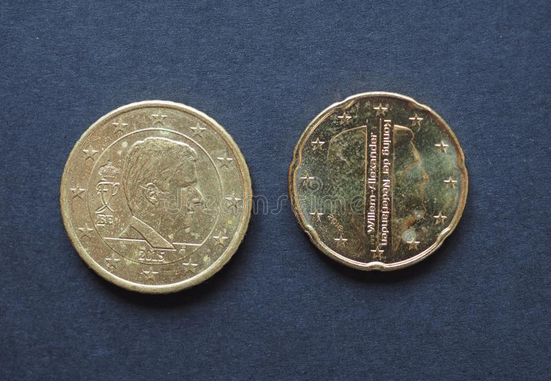20 and 50 cents coin, European Union stock photo