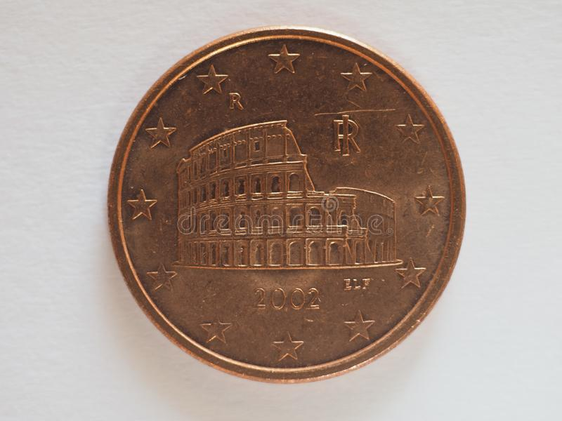 5 cents coin, Italy, Europe royalty free stock images