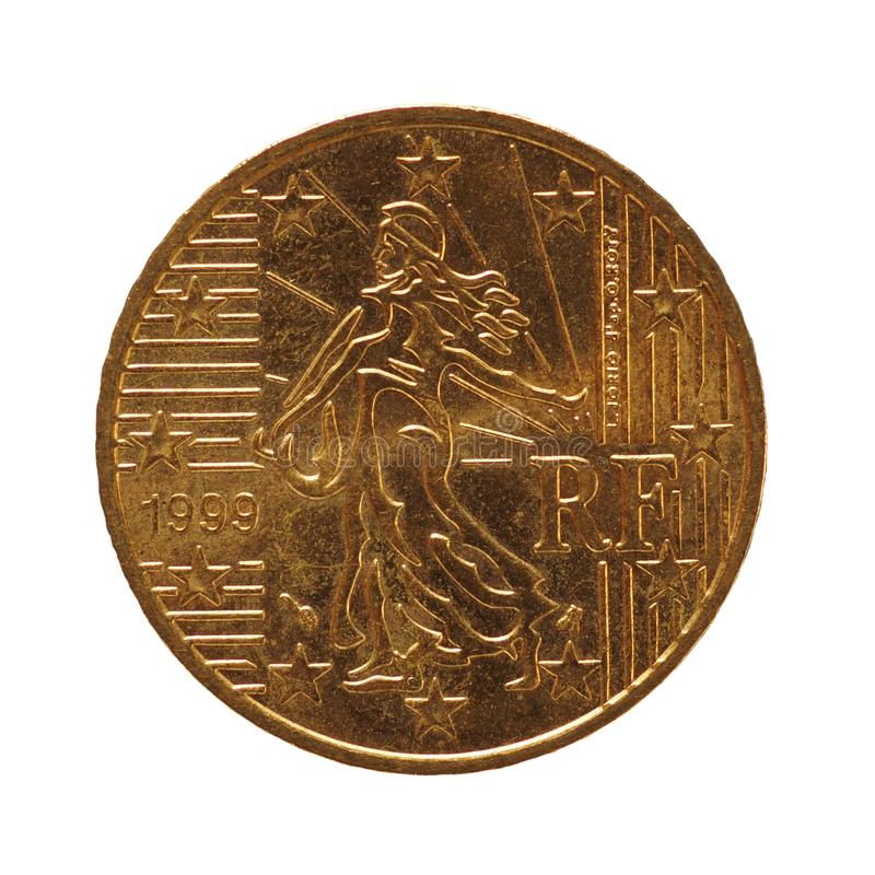 50 cents coin, European Union, France isolated over white royalty free stock photo
