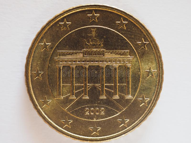 20 cents coin money EUR. Currency of Germany, European Union royalty free stock images