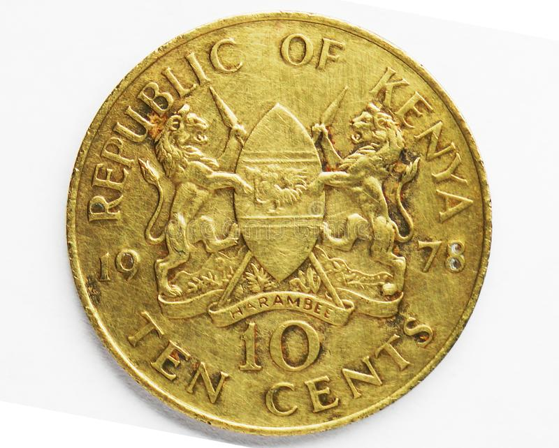 10 Cents coin, 1969~1978 - 2nd Circulation serie, Bank of Kenya. Obverse, issued on 1969. Isolated on white royalty free stock photo