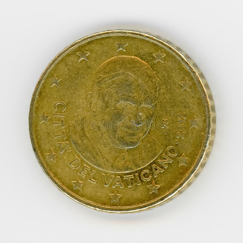 50 cents coin with Pope Benedict XVI, Vatican City, Europe. 50 cents coin money (EUR), currency of Vatican City, European Union with Pope Benedict XVI born royalty free stock images