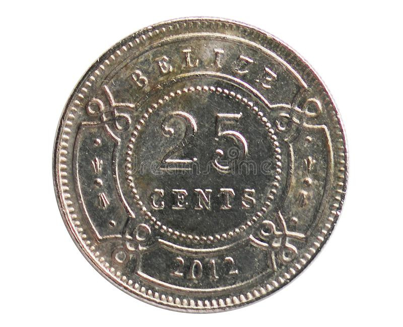 25 Cents coin, 1973~Today - Circulation - Dollar serie, Bank of Belize. Obverse, issued on 1974. Isolated on white stock image