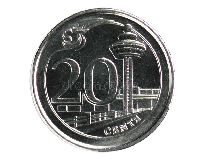 20 Cents coin, 2013~Today - Circulation - 3rd Series, Bank of Singapore. Obverse, issued on 2013. Isolated on white stock images