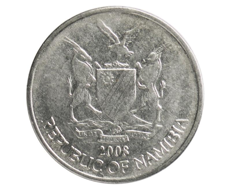 50 Cents coin, 1993~Today - Circulation serie, Bank of Namibia. Reverse, issued on 1993. Isolated on white royalty free stock photography