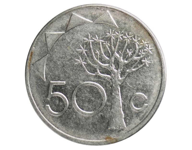 50 Cents coin, 1993~Today - Circulation serie, Bank of Namibia. Obverse, issued on 1993. Isolated on white royalty free stock images