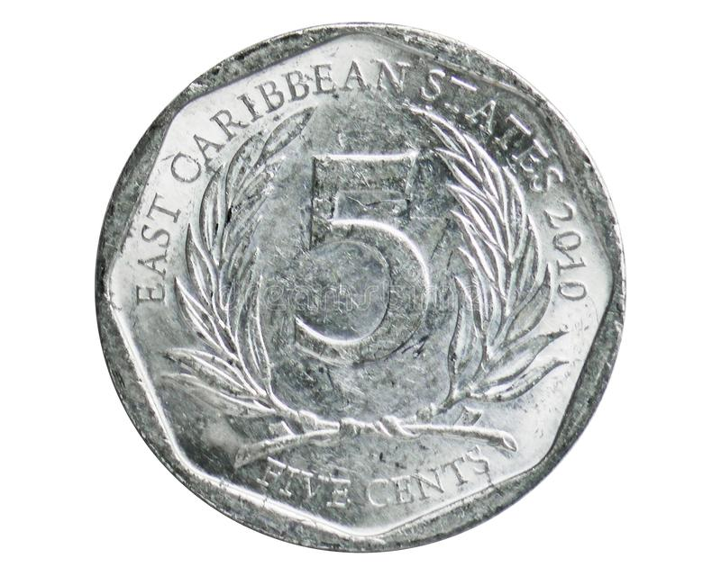 5 Cents coin, 1981~Today - East Caribbean States Circulation serie, Bank of East Caribbean States. Obverse, issued on 2010. Isolated on white stock photos