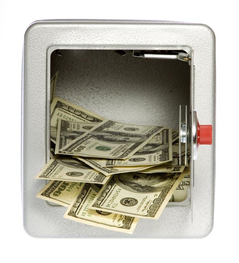 Cents dollars BillsOut d'un coffre-fort déverrouillé et ouvert photographie stock