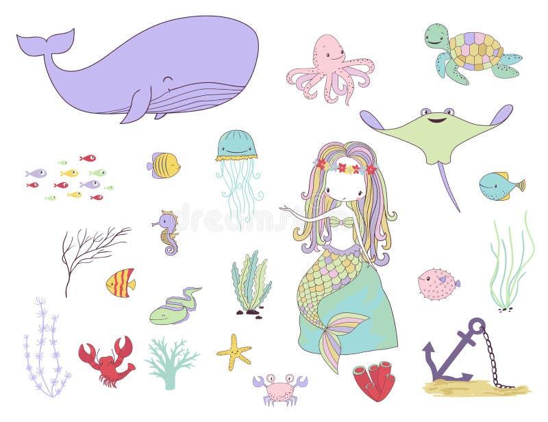 Cents dollars Meerjungfrau, Fische und Seetiere stock abbildung