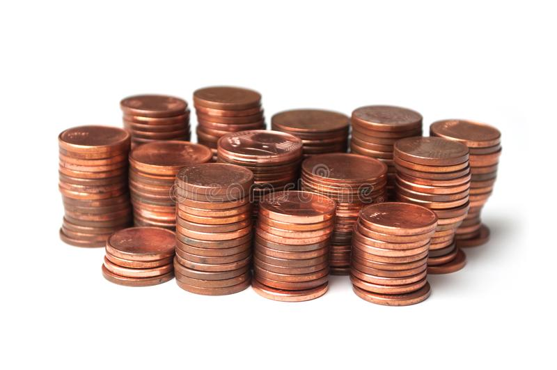 Cents of euro coins piles on white background royalty free stock image