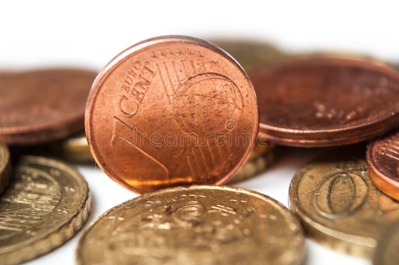 Cents Euromünzen auf weißem Hintergrund lizenzfreie stockbilder