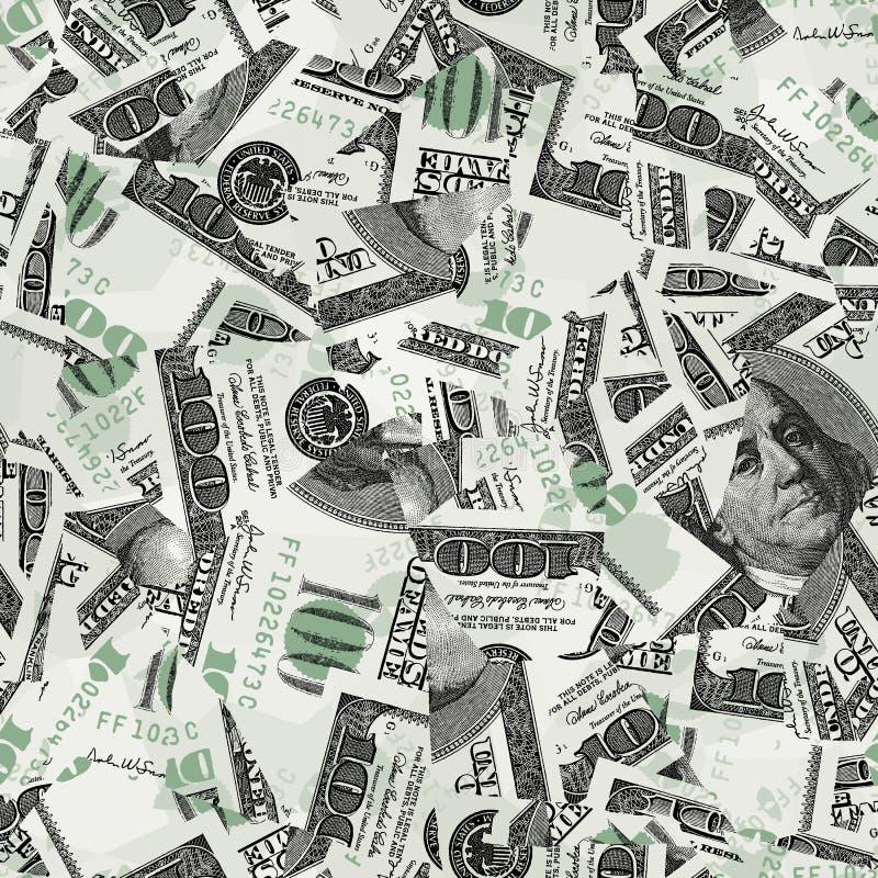 Cents papiers peints sans joint de vecteur de factures illustration stock
