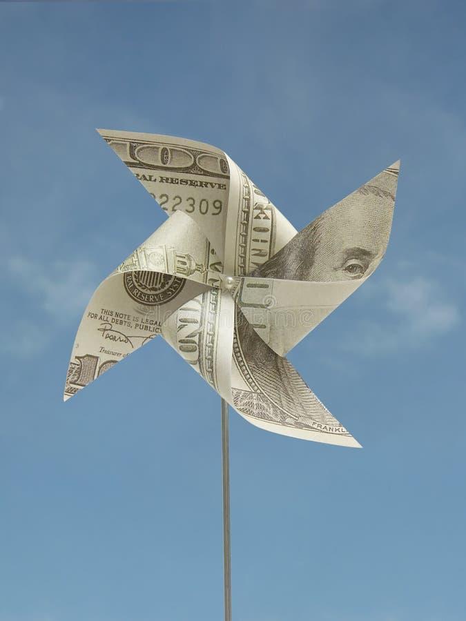 Cents USD de jouet fabriqué à la main de moulin à vent images stock