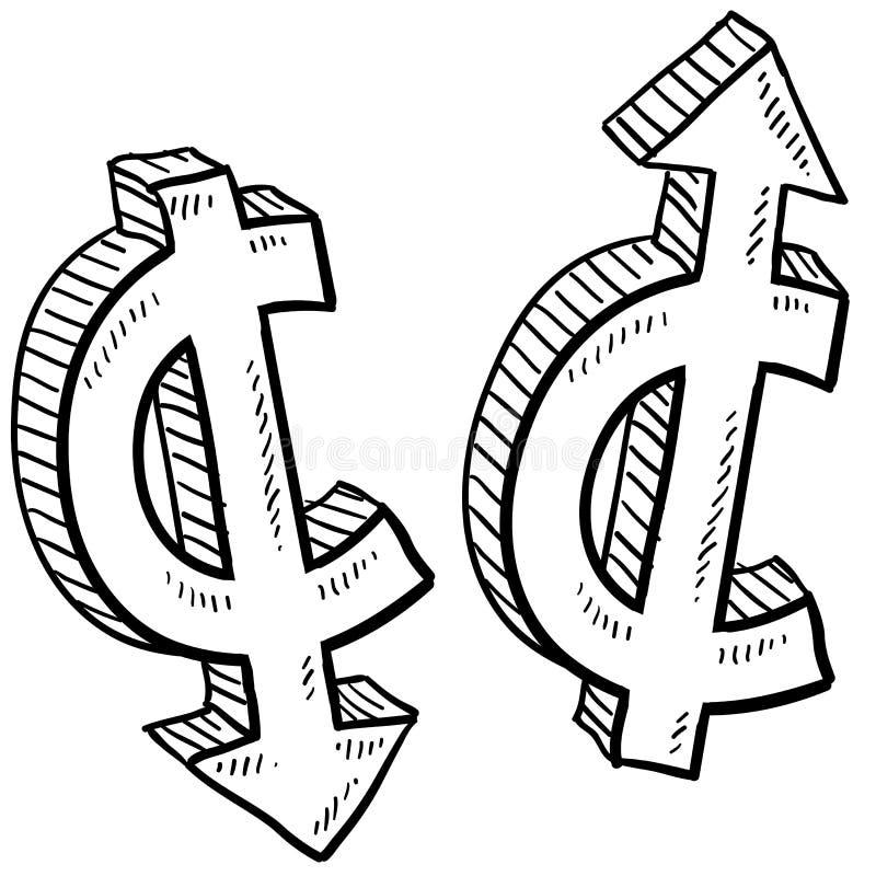 Centu waluty wartości nakreślenie royalty ilustracja
