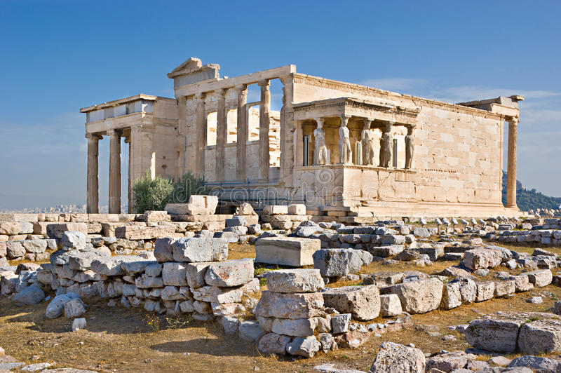 Through the centuries. The Erechtheion with its famous Porch of the Maidens (Caryatids) is a temple in Acropolis citadel, dedicated to both of Athena and royalty free stock images