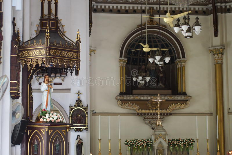 In centuries-old Christian churches. In Bangkok, Thailand stock photo
