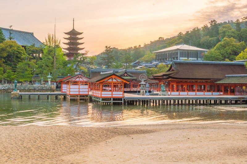 Centuries-old Itsukushima shrine on Miyajima island. In Japan royalty free stock photos