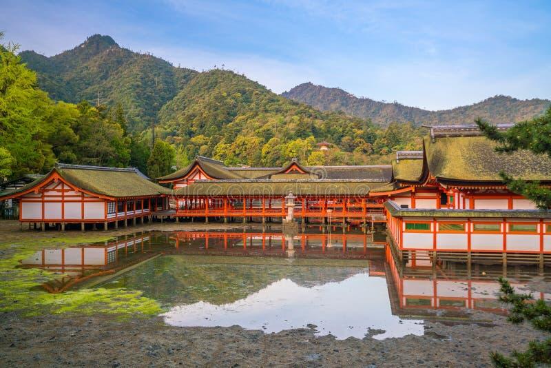 Centuries-old Itsukushima shrine on Miyajima island. In Japan stock images