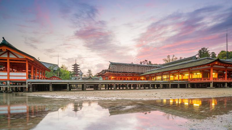 Centuries-old Itsukushima shrine on Miyajima island. In Japan royalty free stock photography