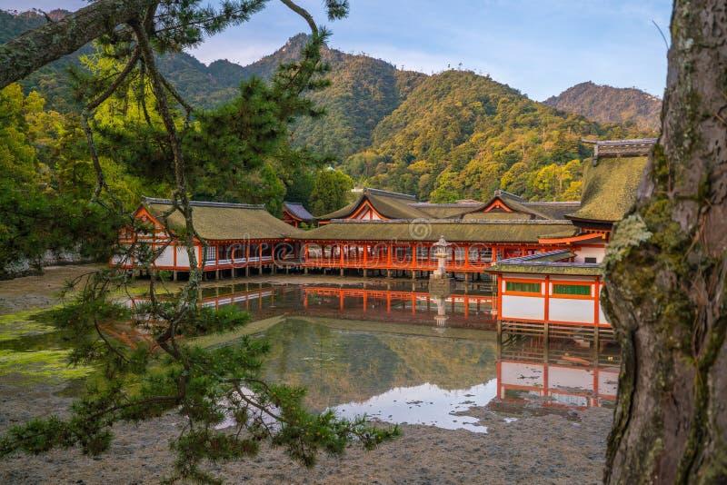Centuries-old Itsukushima shrine on Miyajima island. In Japan royalty free stock images