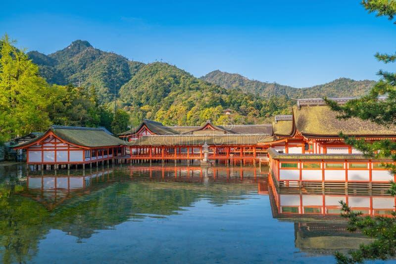 Centuries-old Itsukushima shrine on Miyajima island. In Japan stock photos