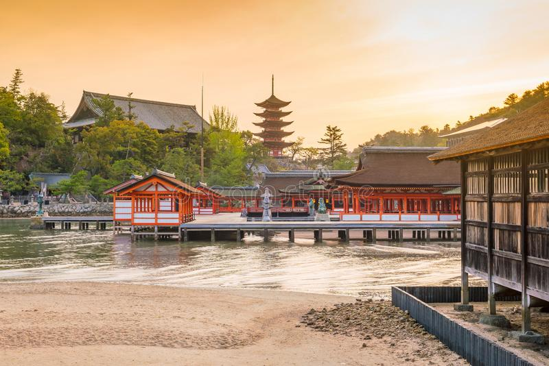 Centuries-old Itsukushima shrine on Miyajima island. In Japan royalty free stock image