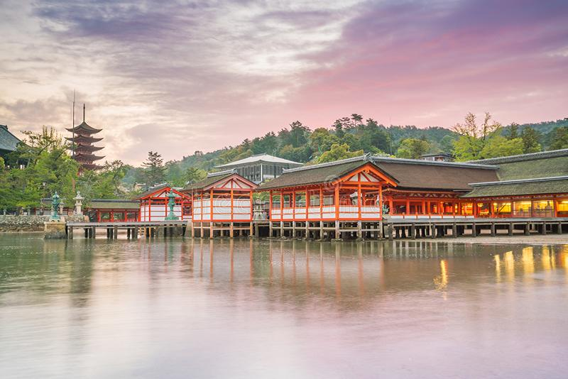 Centuries-old Itsukushima shrine on Miyajima island. In Japan royalty free stock photo
