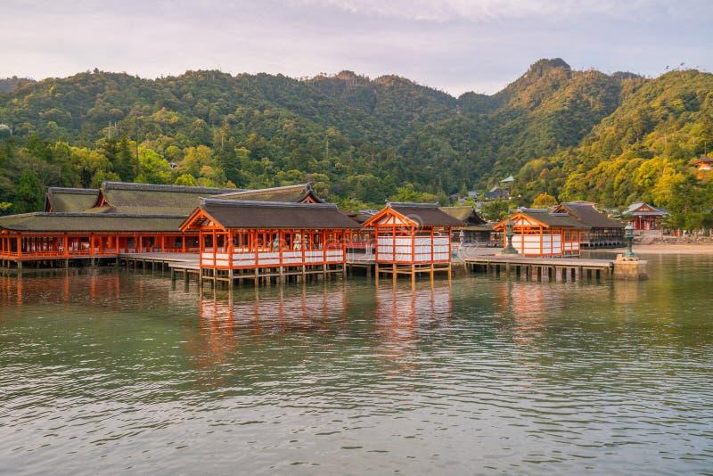 Centuries-old Itsukushima shrine on Miyajima island. In Japan stock photography
