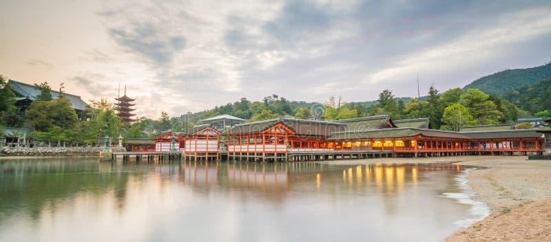 Centuries-old Itsukushima shrine on Miyajima island. In Japan stock image