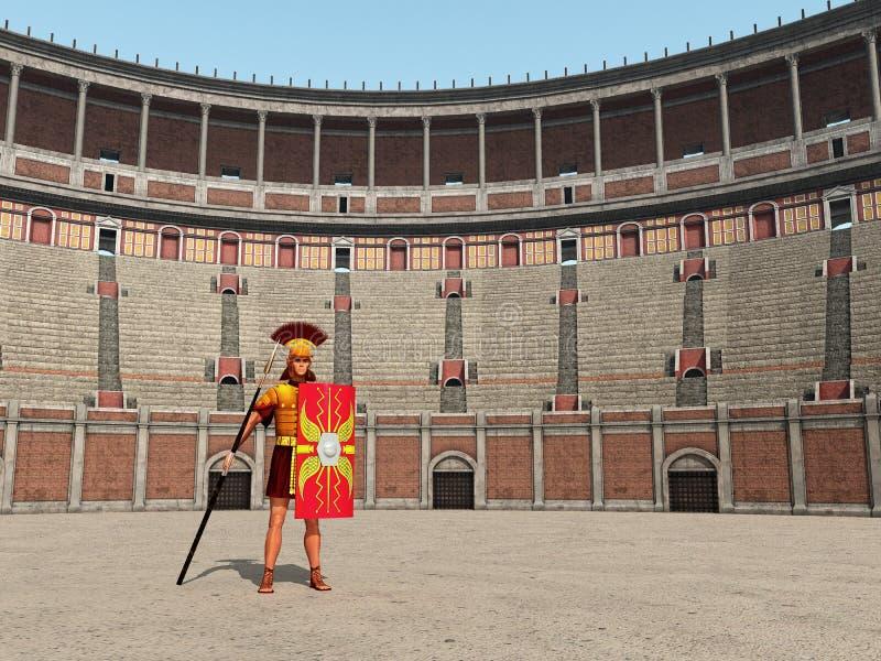 Centurion e Colosseum em Roma antiga ilustração royalty free
