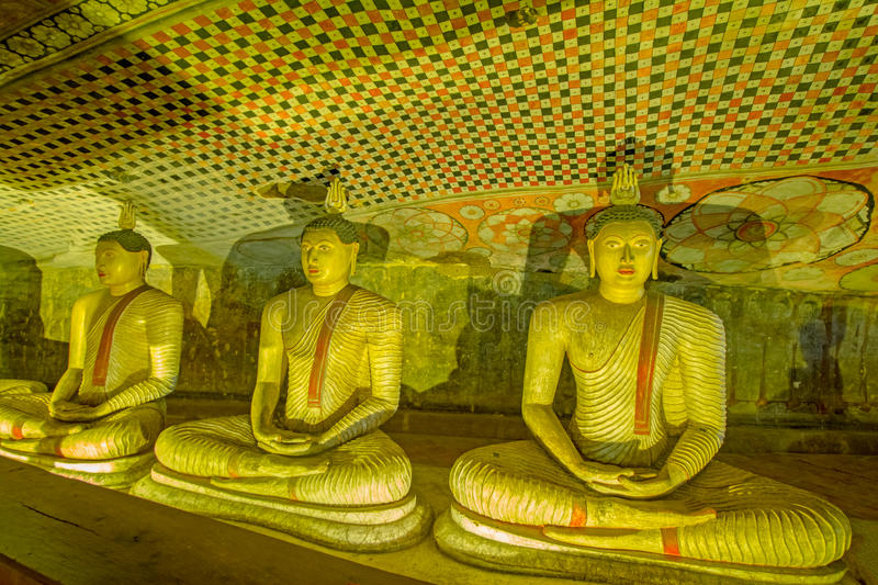 12 Century Dambulla Cave Golden Temple And Statues. Dambulla Cave Golden Temple Is The Largest And Best-Preserved Cave Temple Complex In Sri Lanka royalty free stock images