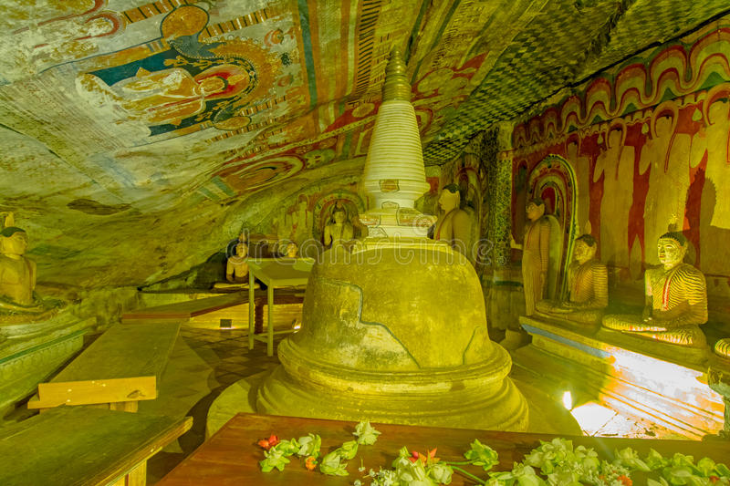 12 Century Dambulla Cave Golden Temple And Statues. Dambulla Cave Golden Temple Is The Largest And Best-Preserved Cave Temple Complex In Sri Lanka royalty free stock photos