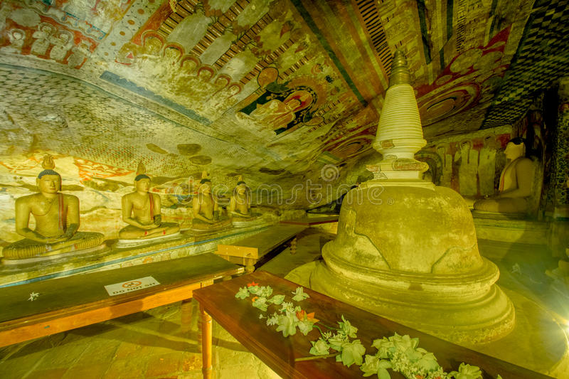 12 Century Dambulla Cave Golden Temple And Statues. Dambulla Cave Golden Temple Is The Largest And Best-Preserved Cave Temple Complex In Sri Lanka stock images