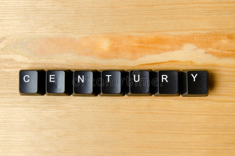 Century word. With keyboard buttons stock images